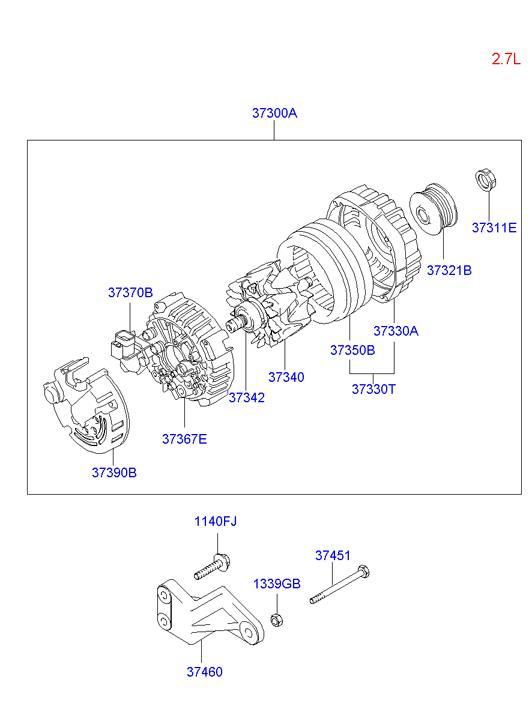 Снятие генератора хендай санта фе дизель 2.2