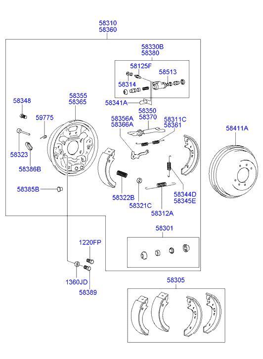 Задние тормозные колодки хендай акцент схема