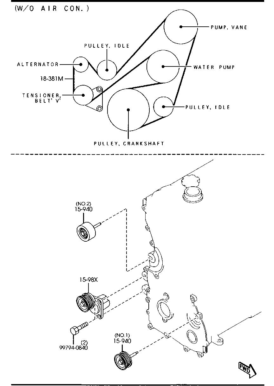 Мазда 6 схема обводного ремня