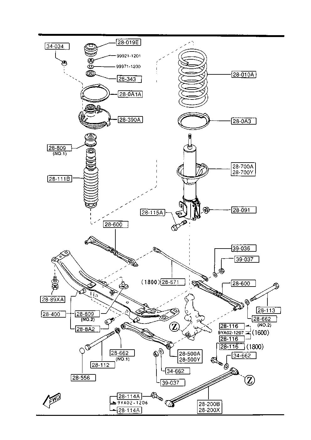 Схема задней подвески мазда 3 2008 года