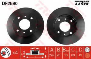 фото: [DF2590] TRW Диск тормозной передний, комплект из 2-х шт.