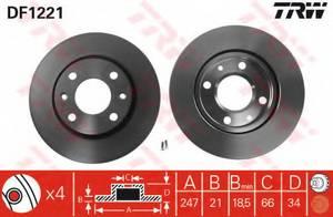 фото: [DF1221] TRW Диск тормозной передний, комплект из 2-х шт
