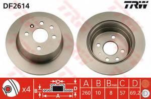 фото: [DF2614] TRW Диск тормозной задний, комплект из 2-х шт.