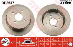 фото: [DF2647] TRW Диск тормозной задний комплект 2 шт.