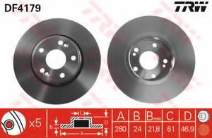 фото: [DF4179] TRW Диск тормозной передний, комплект из 2-х шт.