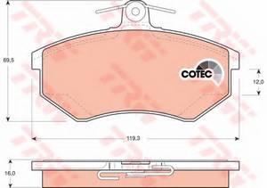 фото: [GDB1048] TRW Колодки тормозные передние комплект на ось