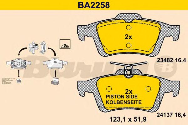 Комплект тормозных колодок, дисковый тормоз BARUM BA2258