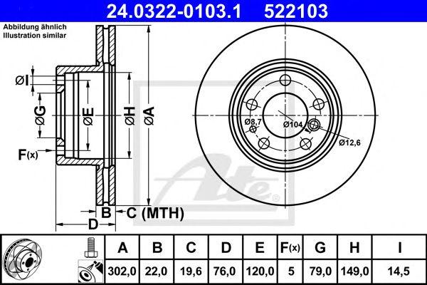 Тормозной диск ATE 24.0322-0103.1