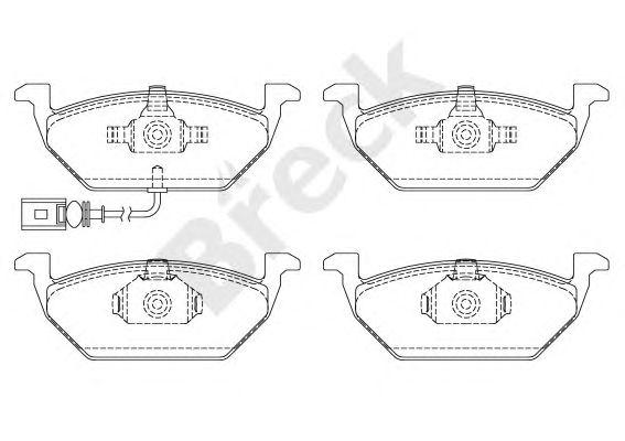 Комплект тормозных колодок, дисковый тормоз BRECK 23131 00 702 10