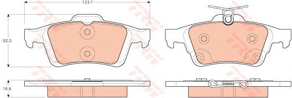 Комплект тормозных колодок, дисковый тормоз TRW GDB1938