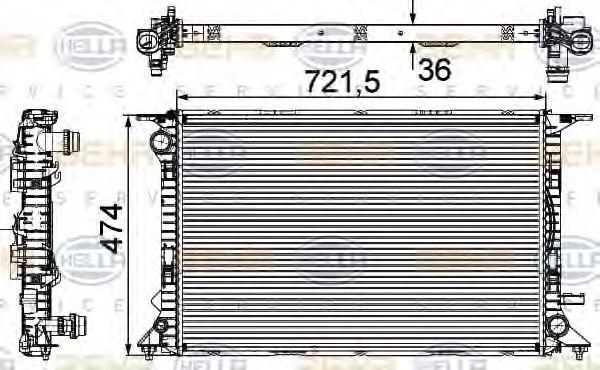 Радиатор, охлаждение двигателя HELLA 8MK 376 745-641