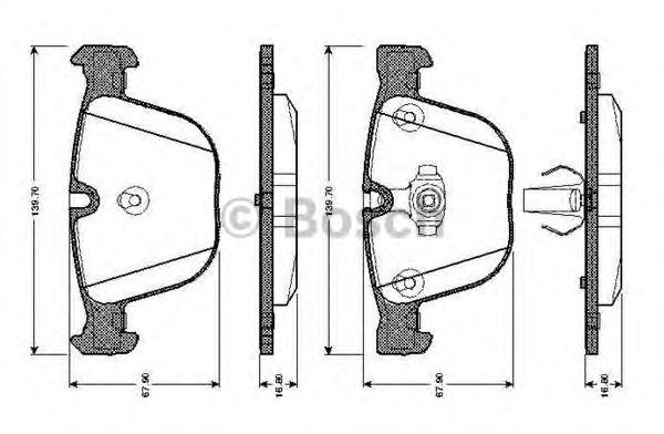 Комплект тормозных колодок, дисковый тормоз BOSCH 0 986 TB2 422