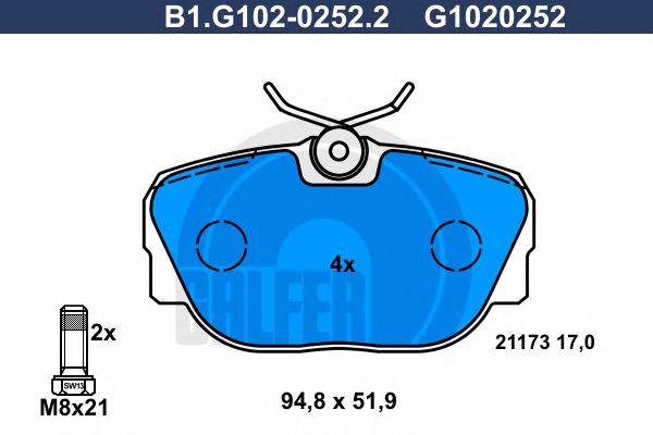Комплект тормозных колодок, дисковый тормоз GALFER B1.G102-0252.2