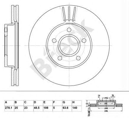 Тормозной диск BRECK BR 345 VA100