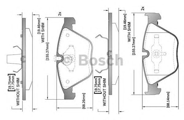 Комплект тормозных колодок, дисковый тормоз BOSCH F 03B 150 317