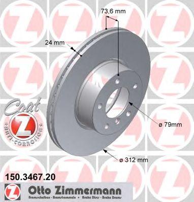 Тормозной диск ZIMMERMANN 150.3467.20