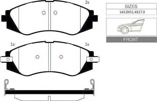 Комплект тормозных колодок, дисковый тормоз GOODWILL 1064 F