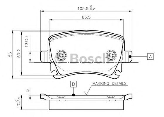Комплект тормозных колодок, дисковый тормоз BOSCH 0 986 TB2 458