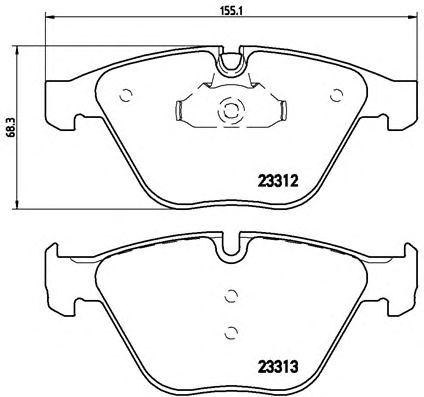 Комплект тормозных колодок, дисковый тормоз BREMBO P 06 054