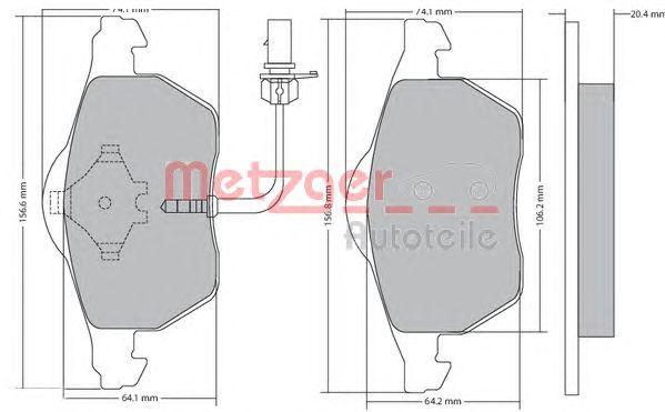 Комплект тормозных колодок, дисковый тормоз METZGER 1170020