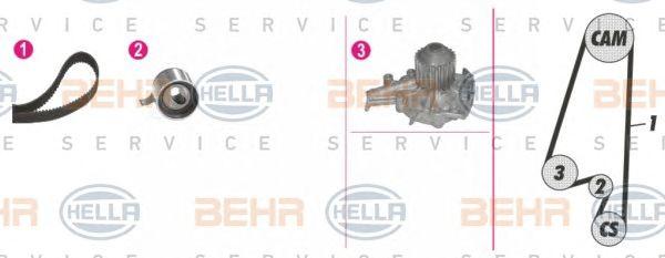 Водяной насос + комплект зубчатого ремня BEHR HELLA SERVICE 8MP 376 808-811
