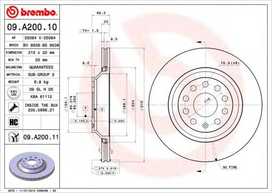Тормозной диск BREMBO 09.A200.10