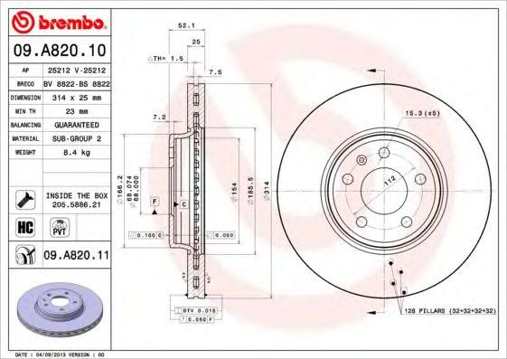 Тормозной диск BREMBO 09.A820.10