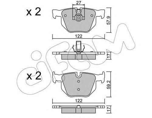 Комплект тормозных колодок, дисковый тормоз CIFAM 822-644-0