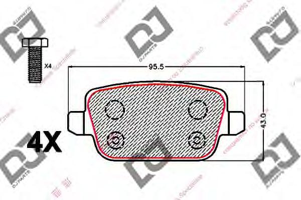 Комплект тормозных колодок, дисковый тормоз DJ PARTS BP2140