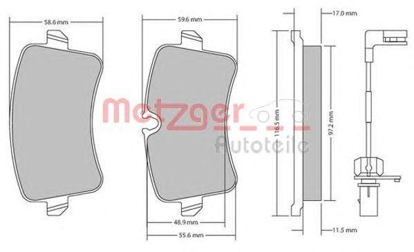 Комплект тормозных колодок, дисковый тормоз METZGER 1170688