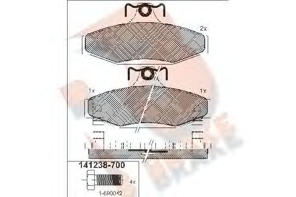 Комплект тормозных колодок, дисковый тормоз R BRAKE RB1238