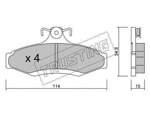 Комплект тормозных колодок, дисковый тормоз TRUSTING 378.0