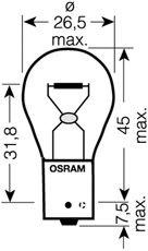 Лампа накаливания, фонарь указателя поворота; Лампа накаливания, фонарь сигнала торможения; Лампа накаливания, фара заднего хода; Лампа накаливания, стояночный / габаритный огонь; Лампа накаливания, фонарь указателя поворота; Лампа накаливания, фонарь сигнала торможения; Лампа накаливания, стояночный / габаритный огонь; Лампа накаливания, фара заднего хода OSRAM 7507DC-02B