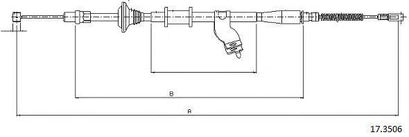 Трос, стояночная тормозная система CABOR 17.3506