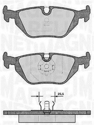Комплект тормозных колодок, дисковый тормоз MAGNETI MARELLI 363916060154