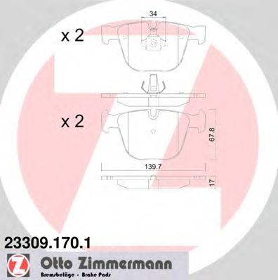 Комплект тормозных колодок, дисковый тормоз ZIMMERMANN 23309.170.1