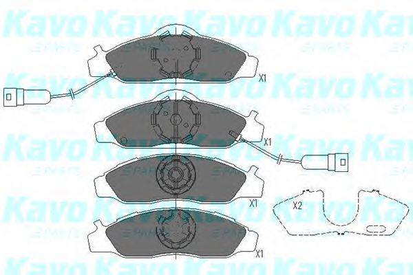 Комплект тормозных колодок, дисковый тормоз KAVO PARTS KBP-7502