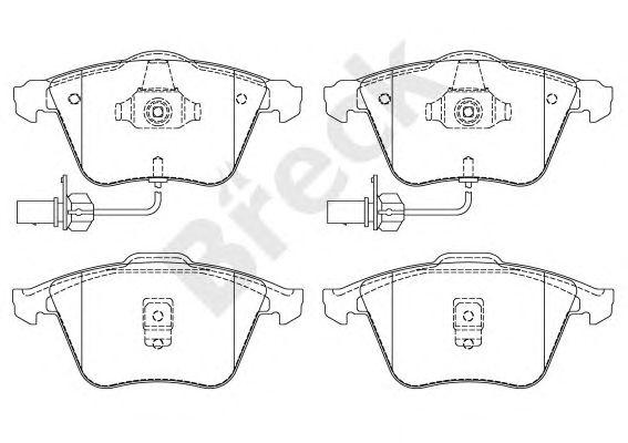 Комплект тормозных колодок, дисковый тормоз BRECK 23762 00 701 10