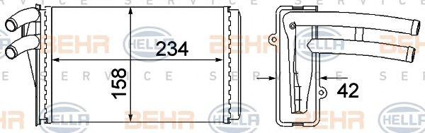 Теплообменник, отопление салона BEHR HELLA SERVICE 8FH 351 045-101