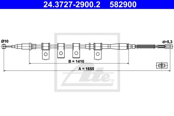 Трос, стояночная тормозная система ATE 24.3727-2900.2